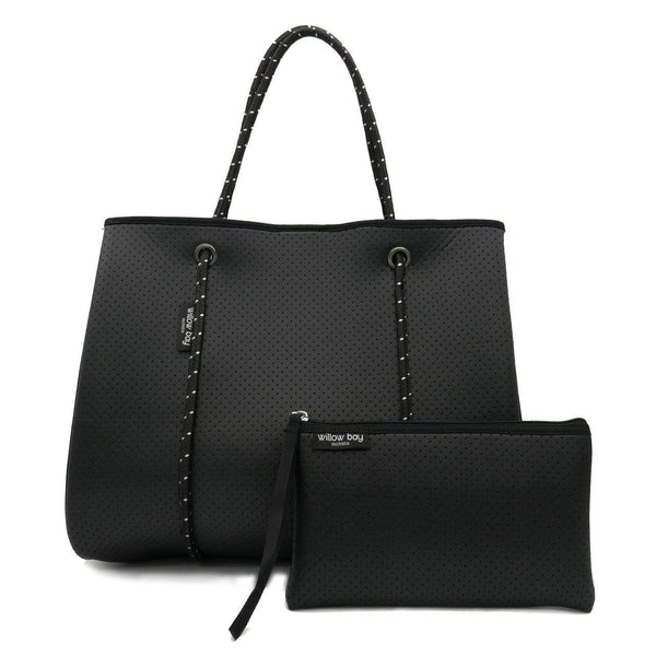 DAYDREAMER Neoprene Tote Bag with closure - BLACK LEATHER LOOK-Willow Bay Australia