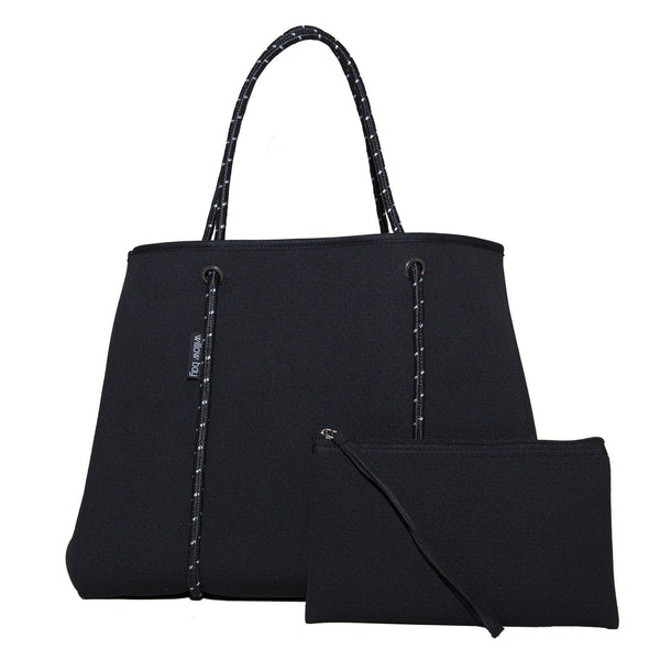 DAYDREAMER Neoprene Tote With Closure - BLACK-Willow Bay