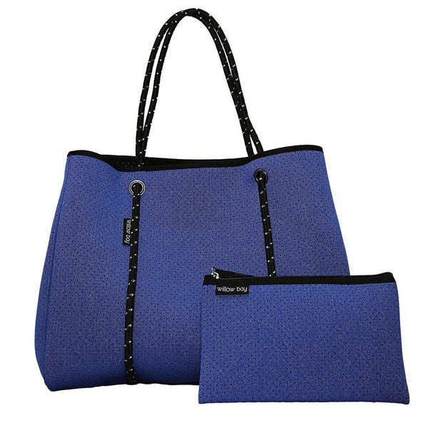 DAYDREAMER Neoprene Tote with Closure - BLUE DENIM-Willow Bay