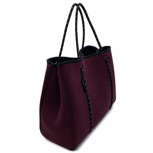 DAYDREAMER Neoprene Tote Bag with Closure - BURGUNDY-Tote Bag-Willow Bay Australia