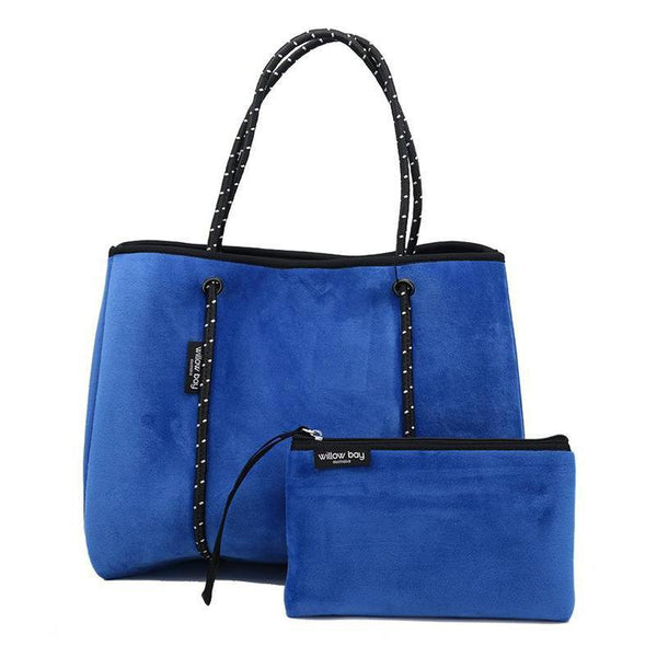 DAYDREAMER Neoprene Tote with Closure - ELECTRIC BLUE VELVET-Willow Bay
