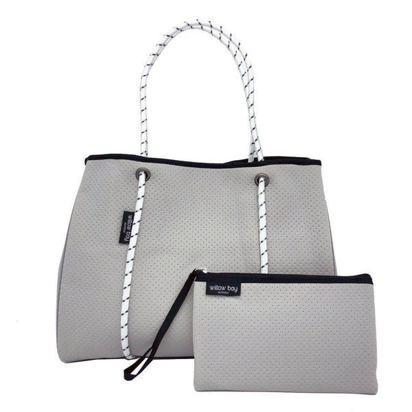 DAYDREAMER Neoprene Tote with Closure - LIGHT GREY-Willow Bay