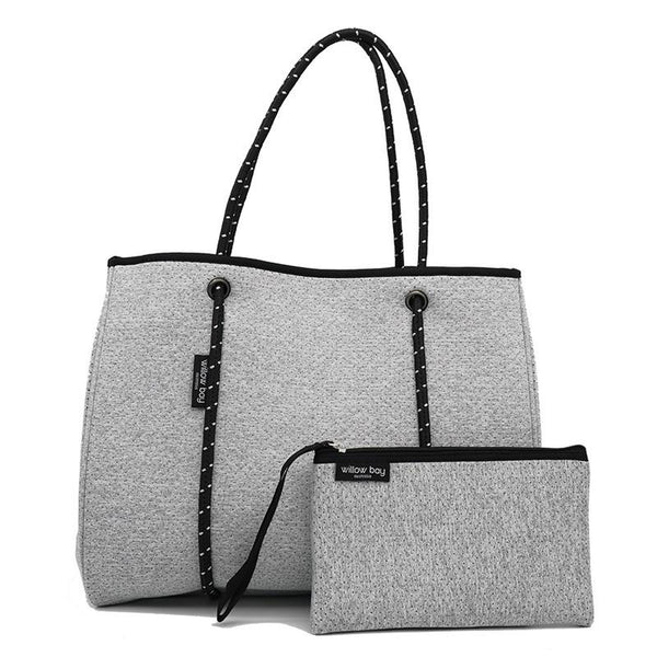 DAYDREAMER Neoprene Tote with Closure - LIGHT MARLE-Willow Bay