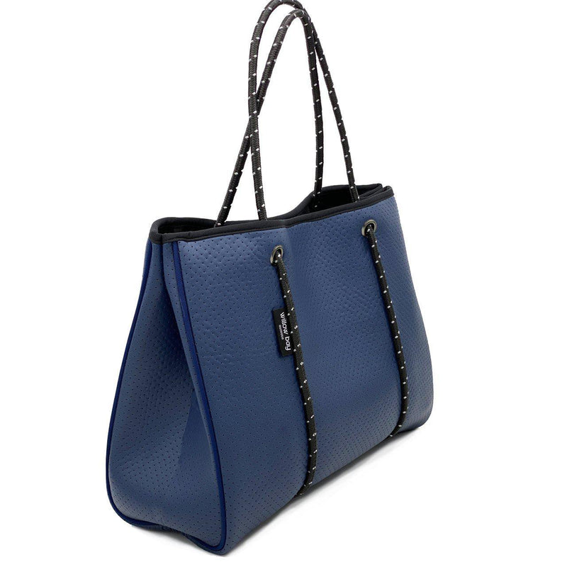 DAYDREAMER Neoprene Tote Bag with closure - NAVY LEATHER LOOK-Tote Bag-Willow Bay Australia