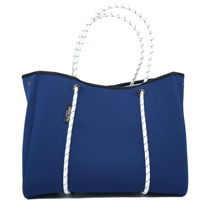 DAYDREAMER Neoprene Tote with Closure - NAVY/WHITE-Tote Bag-Willow Bay Australia