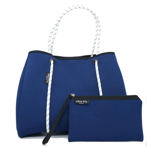 DAYDREAMER Neoprene Tote with Closure - NAVY/WHITE-Willow Bay