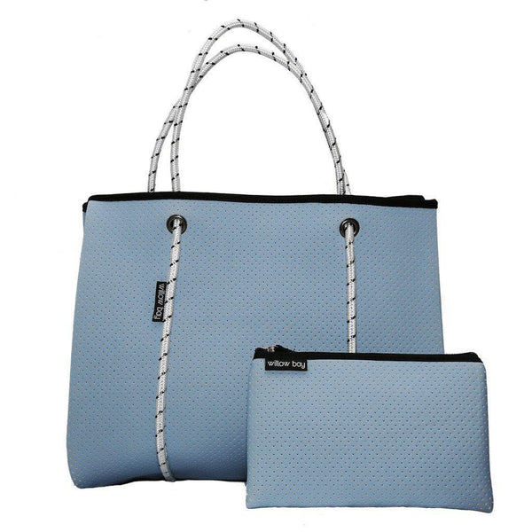 DAYDREAMER Neoprene Tote with Closure - SKY BLUE-Willow Bay