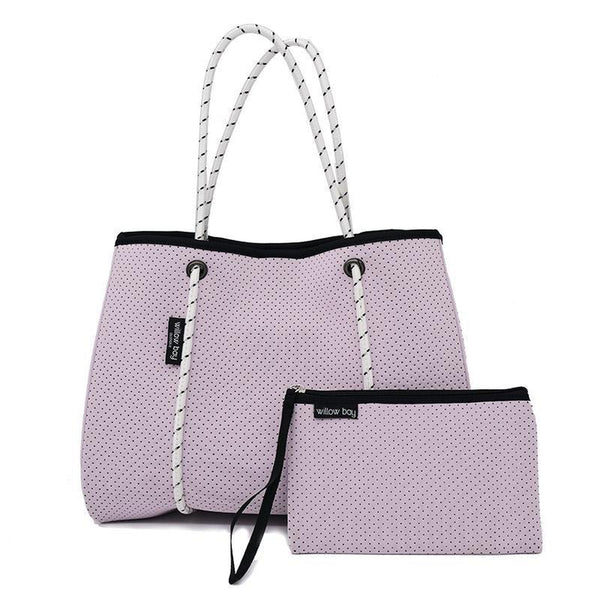 DAYDREAMER Neoprene Tote with Closure - SOFT LILAC-Willow Bay