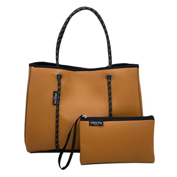 DAYDREAMER Neoprene Tote Bag with Closure - TAN LEATHER LOOK-Tote Bag-Willow Bay Australia