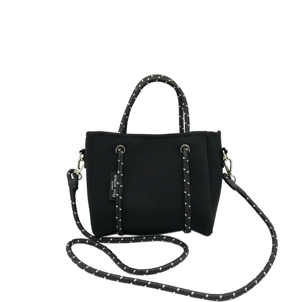 DAYDREAMER TINY Neoprene Tote Bag With Closure - BLACK-Willow Bay Australia
