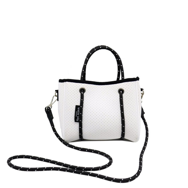 DAYDREAMER TINY Neoprene Tote Bag With Closure - WHITE-Willow Bay Australia