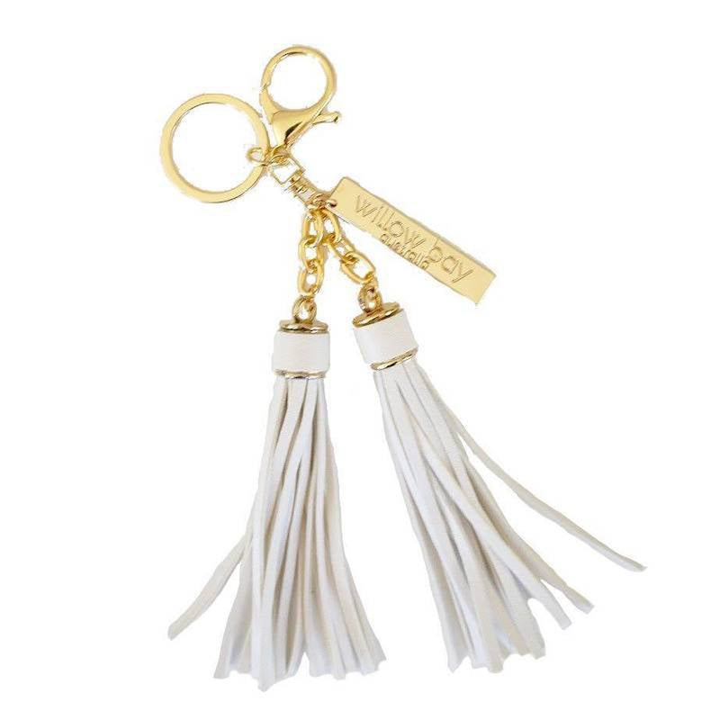 KEYCHAIN Tassel - WHITE-Willow Bay