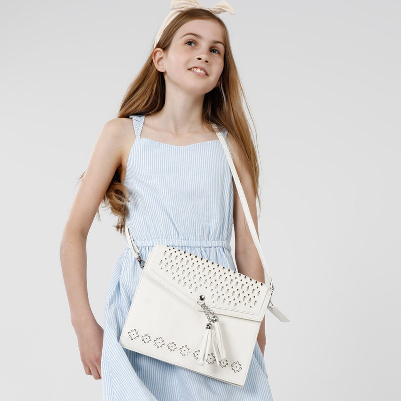 KIDS BOHO IPAD CROSSBODY Faux Leather - ANTIQUE WHITE-Willow Bay Australia
