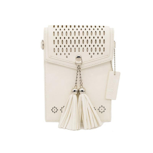 KIDS BOHO PHONE CROSSBODY Faux Leather - ANTIQUE WHITE-Willow Bay
