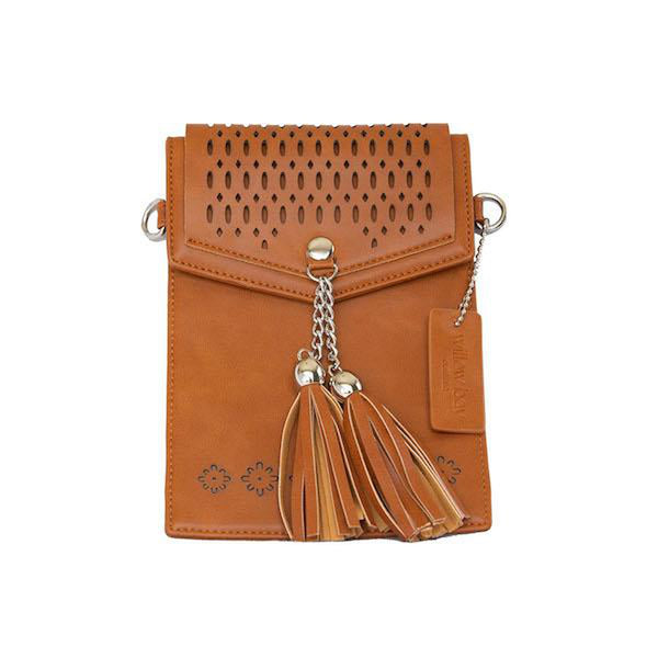 KIDS BOHO PHONE CROSSBODY Faux Leather - TAN-Willow Bay