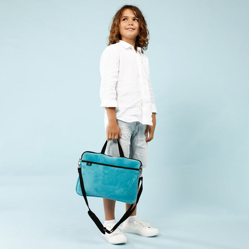 KIDS MINI LAPTOP BAG - Teal Velvet-Willow Bay Australia