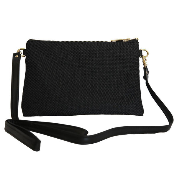 LINEN/COTTON Shoulder Bag - BLACK-Willow Bay