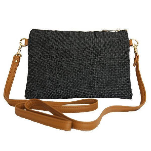 LINEN/COTTON Shoulder Bag - CHARCOAL-Willow Bay