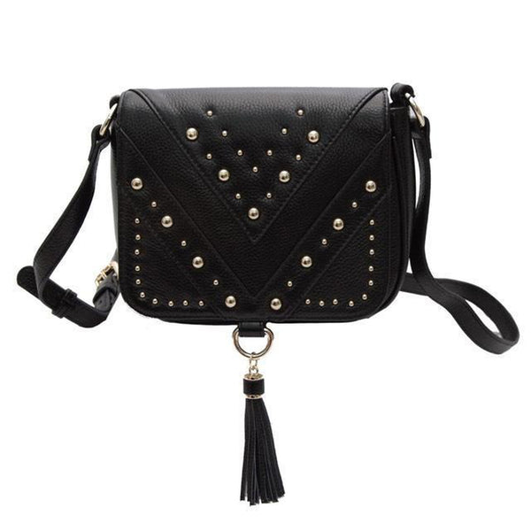 LUXE Leather Saddle Shoulder Bag - BLACK-Willow Bay