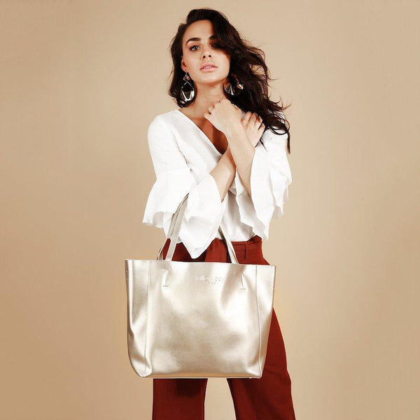 LUXE Leather Tote - CHAMPAGNE-Tote Bag-Willow Bay Australia