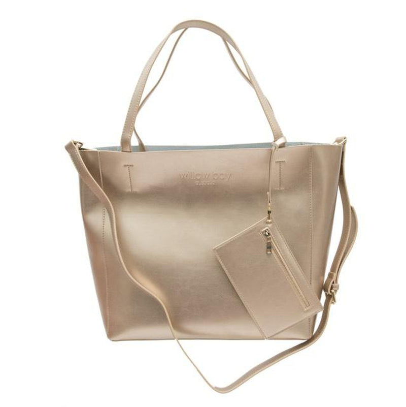 LUXE Leather Tote - CHAMPAGNE-Willow Bay