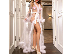 """Sugar Daddy"" White Fluffy Furry Marabou Feather Robe"