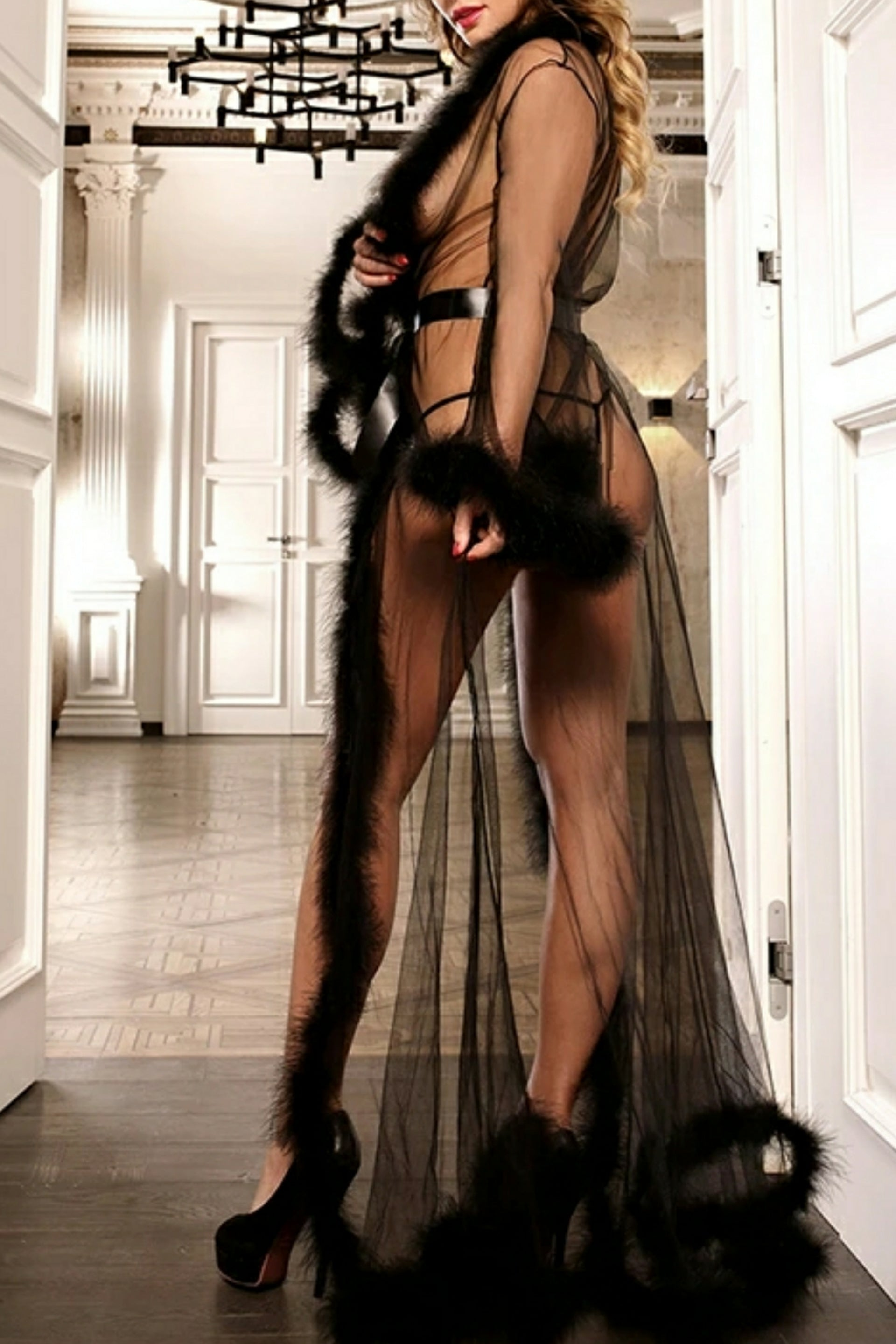 Sugar Daddy 3 Colors Fluffy Furry Marabou Feather Robe Goddess Of Luxury