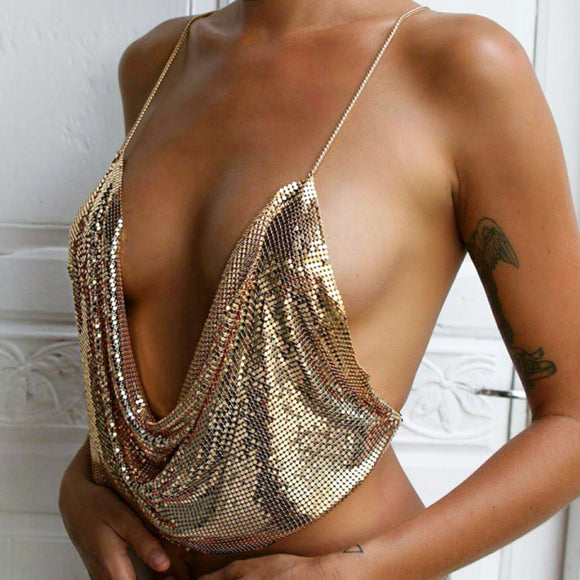 All Chained Up Glitz Top (Gold)