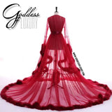 """Dream Come True"" Burgundy Long Sheer Tulle Marabou Feather Grand Luxury Robe"