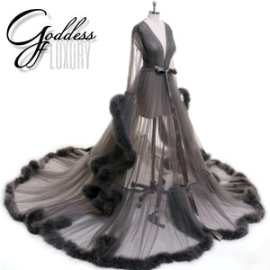 """Dream Come True"" Gray Long Sheer Tulle Marabou Feather Grand Luxury Robe"