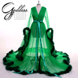 """Dream Come True"" Green Long Sheer Tulle Marabou Feather Grand Luxury Robe"