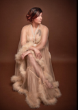 Hollywood Glam Sheer Fluffy Floor-length Feather Robe
