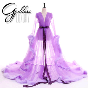 """Dream Come True"" Lavender Long Sheer Tulle Marabou Feather Grand Luxury Robe"