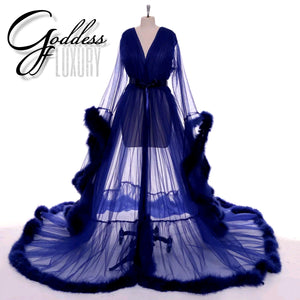 """Dream Come True"" Navy Blue Long Sheer Tulle Marabou Feather Grand Luxury Robe"