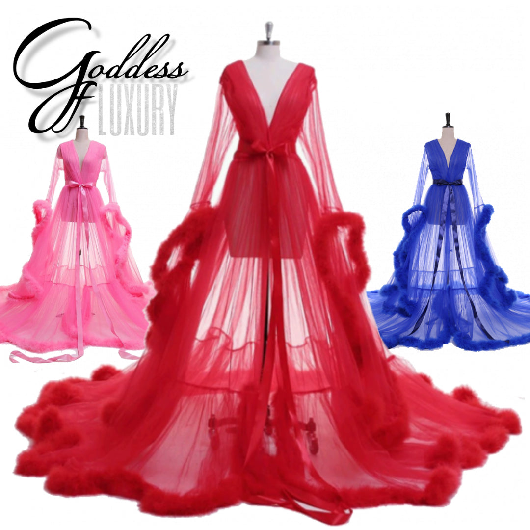 Dream Come True 100 Colors Long Sheer Tulle Marabou Feather Grand Goddess Of Luxury
