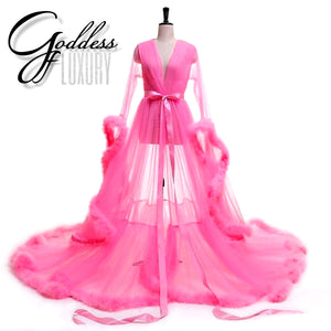 """Dream Come True"" Pink Long Sheer Tulle Marabou Feather Grand Luxury Robe"