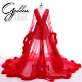 """Dream Come True"" Red Long Sheer Tulle Marabou Feather Grand Luxury Robe"
