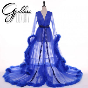"""Dream Come True"" Royal Blue Long Sheer Tulle Marabou Feather Grand Luxury Robe"