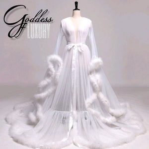 """Dream Come True"" White Long Sheer Tulle Marabou Feather Grand Luxury Robe"