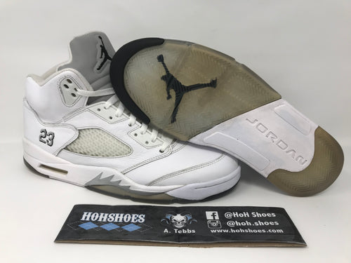 save off 8097f 20296 Air Jordan 5 V Metallic White (2015) 136027-130 size 11 with replacement