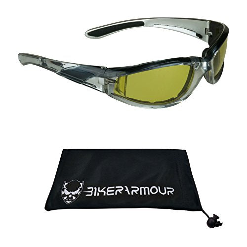 Chrome and Black Motorcycle Night Glasses Yellow Foam Padded for Men and Women.