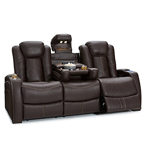 Lane Omega Leather Gel Home Theater Power Recline Multimedia Sofa with Fold-Down Table (Brown)