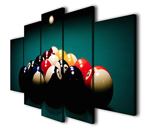 HQ Art 5 Panels Billiards Ball Pool Snooker Printed Painting Canvas Wall Art Picture Home Décor (SIZE 2: 12x16inx2pc, 12x24inx2pcs, 12x32inx1pc, With Framed)