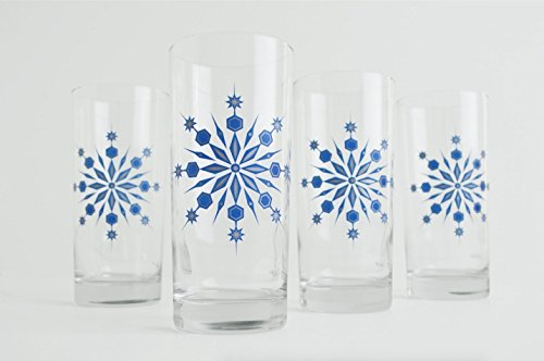 Snowflake Drinking Glasses - Set of 4 Hanukkah Holiday Glasses, Blue and Silver Snowflake Glasses