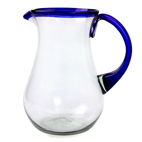 NOVICA Artisan Crafted Hand Blown Pitcher, 82 oz, 'Blue Grace'
