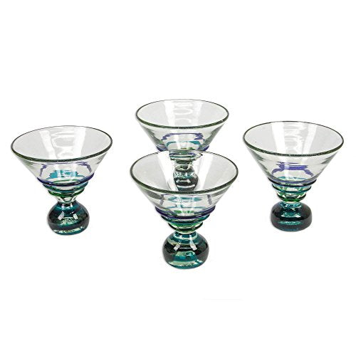 NOVICA Hand Blown Clear Blue Recycled Glass Martini Glasses, 10 oz 'Three Ribbons' (set of 4)