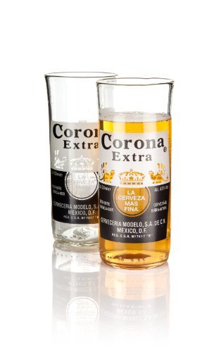Recycled Corona Extra Beer Bottle glasses, tumblers, gift boxed, hand made in Devon by Glass ReFORM from upcycled bottles, Eco friendly gift. We are the makers! by Glass ReFORM