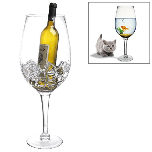 20 Inch Giant Clear Decorative Hand Blown  Glass Novelty Stemware / Champagne Magnum Chiller