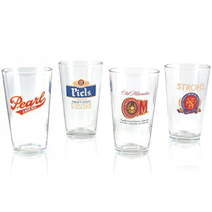 Old Milwaukee Beer, Stroh's Beer, Piels Beer, and Pearl Beer Pint Glass Mixed Set Officially Licensed, Set of 4