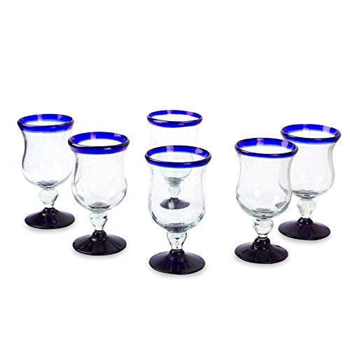 NOVICA Artisan Crafted Hand Blown Wine Glasses, 7 oz, 'Spring' (set of 6)